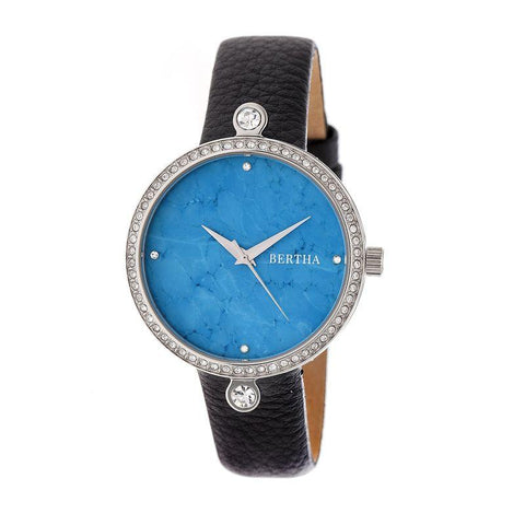 Bertha Frances Marble Dial Leather-Band Watch - Black/Cerulean BTHBR6402