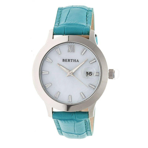 Bertha Eden Mother-Of-Pearl Leather-Band Watch w/Date - Turquoise/Silver BTHBR6503