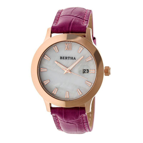 Bertha Eden Mother-Of-Pearl Leather-Band Watch w/Date - Fuchsia/Rose Gold BTHBR6507