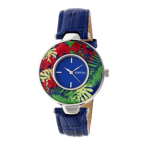 Bertha Elizabeth Unique Bezel Leather-Band Watch - Silver/Blue BTHBR6604