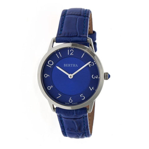 Bertha Abby Swiss Leather-Band Watch - Silver/Blue BTHBR6805