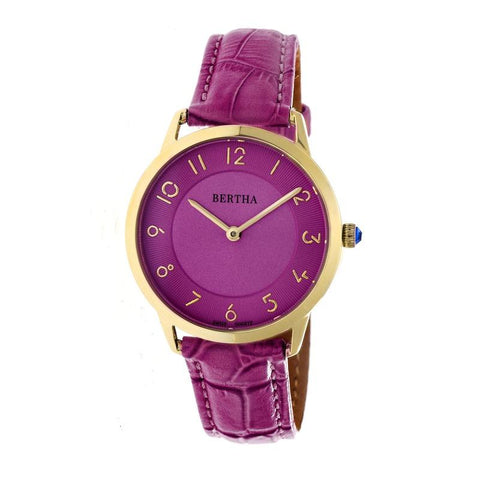Bertha Abby Swiss Leather-Band Watch - Gold/Fuchsia BTHBR6806