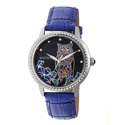 Bertha Madeline MOP Leather-Band Watch - Purple BTHBR7105