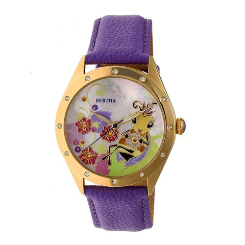 Bertha Ericka MOP Leather-Band Watch - Purple BTHBR7205
