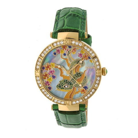 Bertha Mia Mother-Of-Pearl Leather-Band Watch - Green BTHBR7403