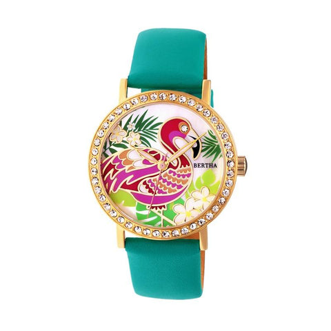 Bertha Luna Mother-Of-Pearl Leather-Band Watch - Turquoise BTHBR7703