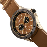Breed Dixon Leather-Band Watch w/Day/Date - Gold/Light Brown