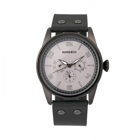 Breed Rio Leather-Band Watch w/Day/Date - Black  BRD7406