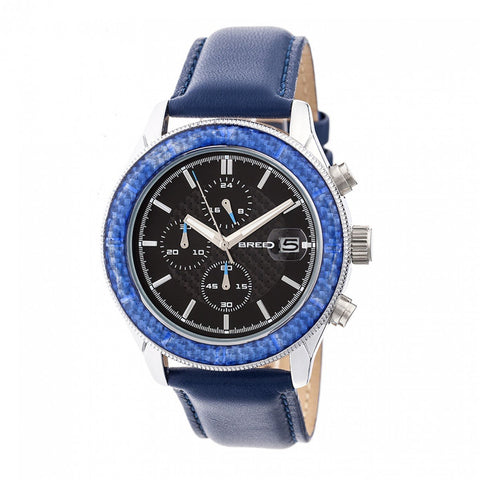 Breed Maverick Chronograph Leather-Band Watch w/Date - Silver/Blue