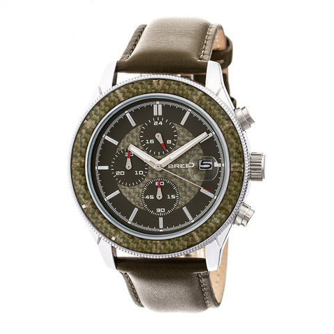 Breed Maverick Chronograph Leather-Band Watch w/Date - Silver/Olive BRD7505