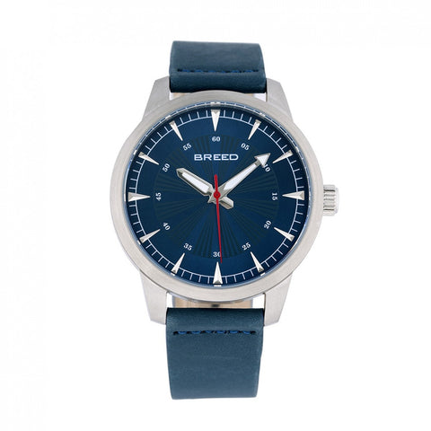 Breed Renegade Leather-Band Watch - Blue