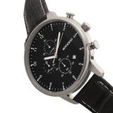 Breed Holden Chronograph Leather-Band Watch w/ Date - Silver/Black BRD7804