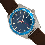 Breed Ranger Leather-Band Watch w/Date - Silver/Blue