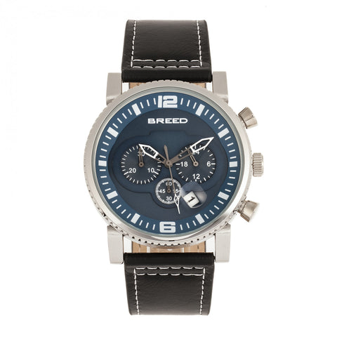 Breed Ryker Chronograph Leather-Band Watch w/Date - Black/Teal BRD8203