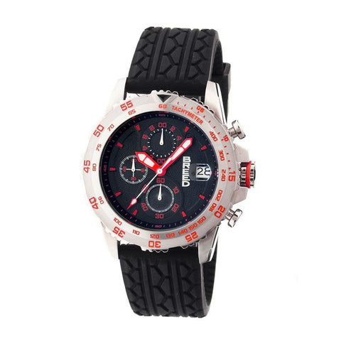 Breed Socrates Chronograph Men's Watch w/ Date-Silver/Red BRD6304