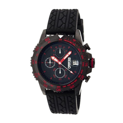 Breed Socrates Chronograph Men's Watch w/ Date-Black/Red BRD6308