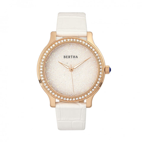 Bertha Cora Crystal-Encrusted Leather-Band Watch - White BTHBR6004