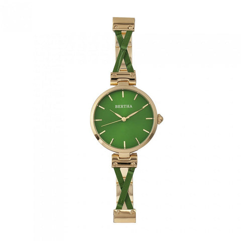 Bertha Amanda Criss-Cross Bracelet Watch - Gold/Green