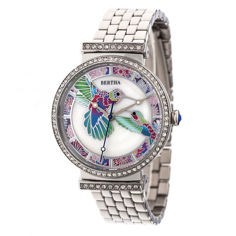 Bertha Emily Mother-Of-Pearl Bracelet Watch - Silver BTHBR7801