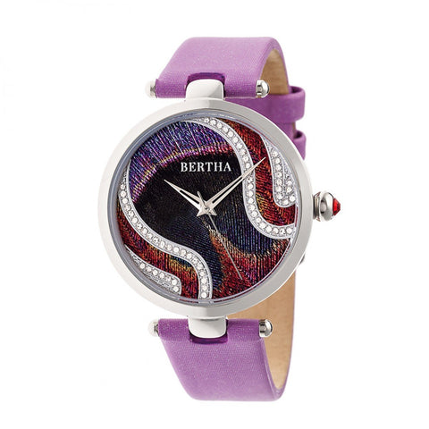 Bertha Trisha Leather-Band Watch w/Swarovski Crystals - Lilac BTHBR8002