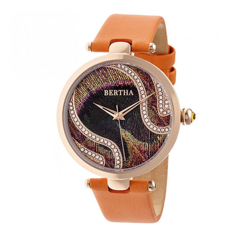 Bertha Trisha Leather-Band Watch - Orange