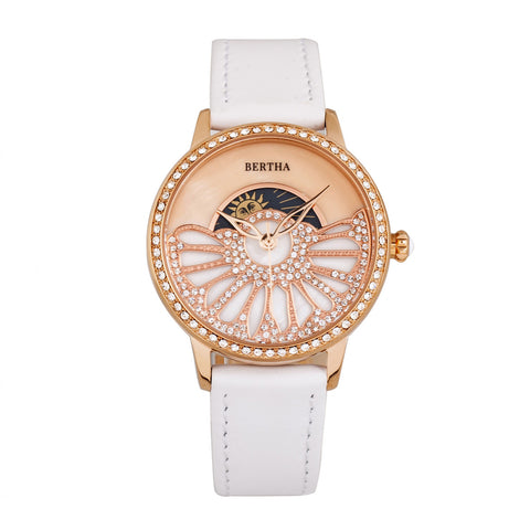 Bertha Adaline Mother-Of-Pearl Leather-Band Watch - White BTHBR8205