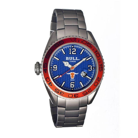 Bull Titanium Hereford Men's Swiss Bracelet Watch - Blue BULHR004