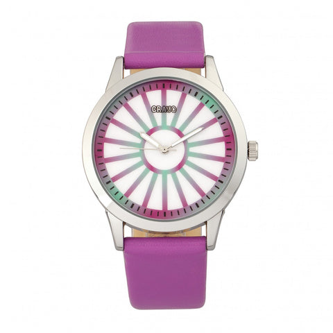 Crayo Electric Leatherette Strap Watch - Fuchsia CRACR5001