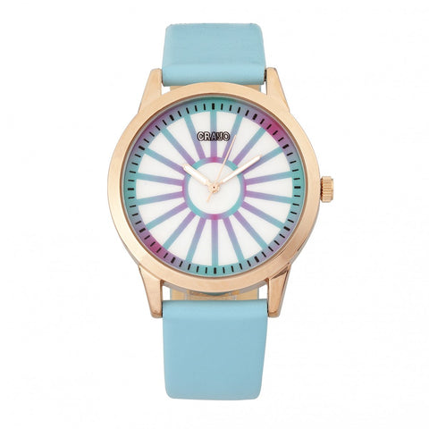 Crayo Electric Leather-Band Watch - Light Blue
