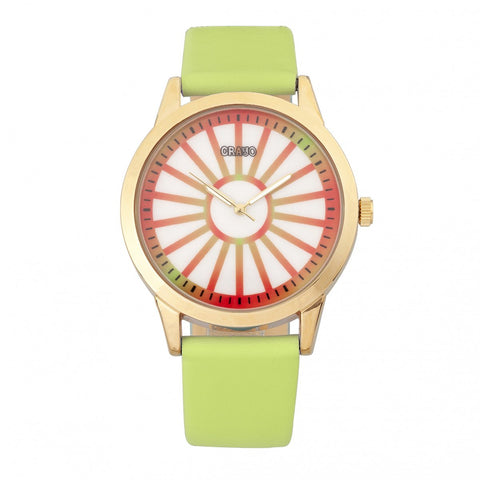 Crayo Electric Leather-Band Watch - Light Green