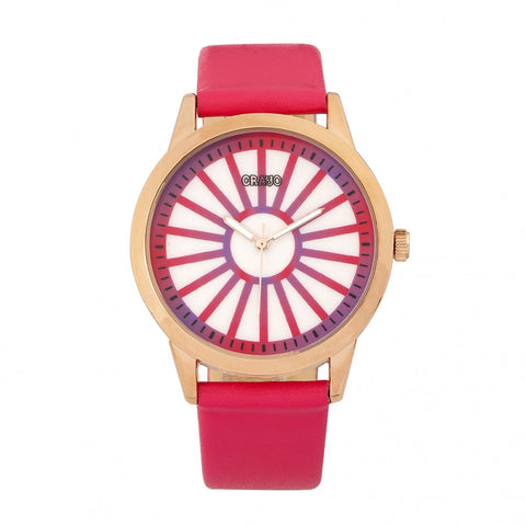 Crayo Electric Leather-Band Watch - Hot Pink
