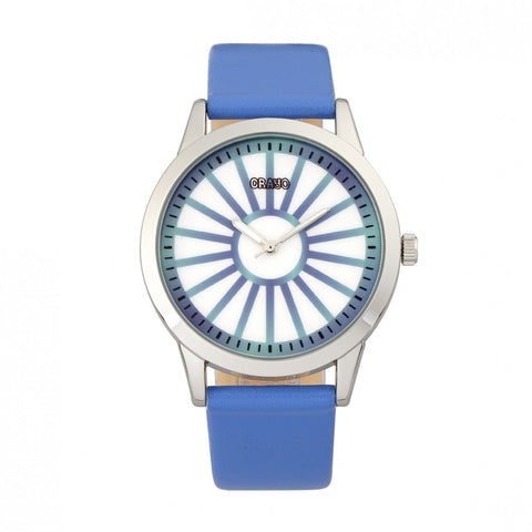 Crayo Electric Leather-Band Watch - Blue