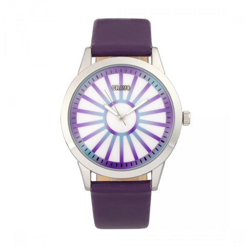 Crayo Electric Leatherette Strap Watch - Purple CRACR5006