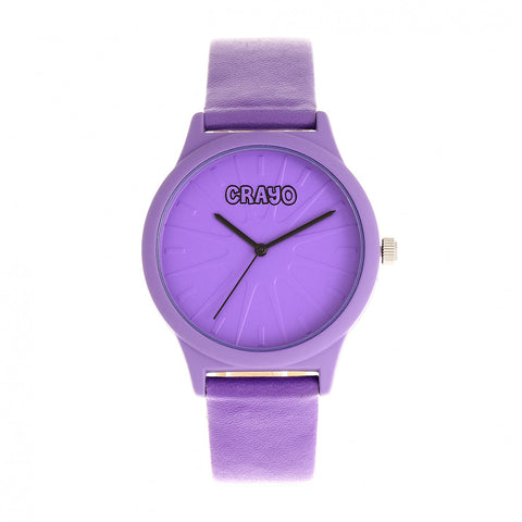 Crayo Splat Leatherette Strap Watch - Purple CRACR5307