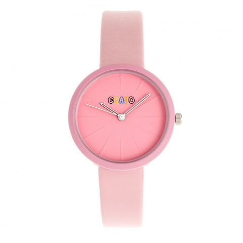Crayo Blade Leatherette Strap Watch - Pink CRACR5406