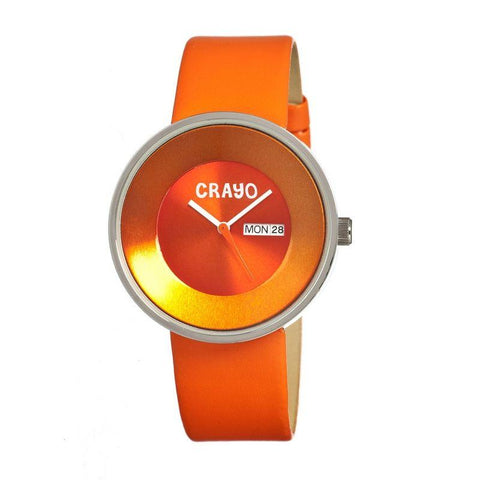 Crayo Button Leather-Band Unisex Watch w/ Day/Date - Orange CRACR0205