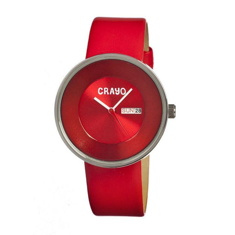 Crayo Button Leather-Band Unisex Watch w/ Day/Date - Red CRACR0206