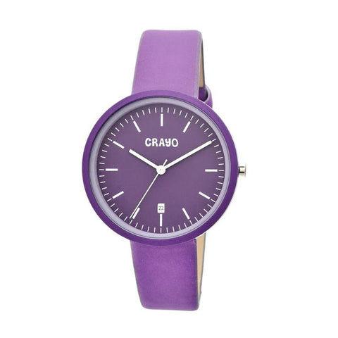 Crayo Easy Leather-Band Unisex Watch w/ Date - Lavender CRACR2409