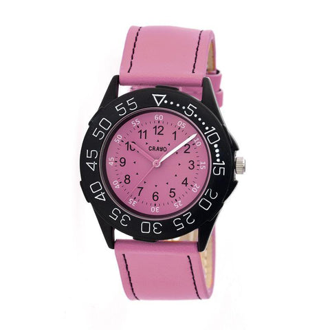 Crayo Fun Leather-Band Unisex Watch - Pink CRACR2508