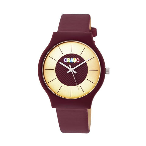 Crayo Trinity Strap Watch - Maroon CRACR4408