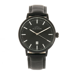 Elevon Vin Leather-Band Watch w/Date Display - Black
