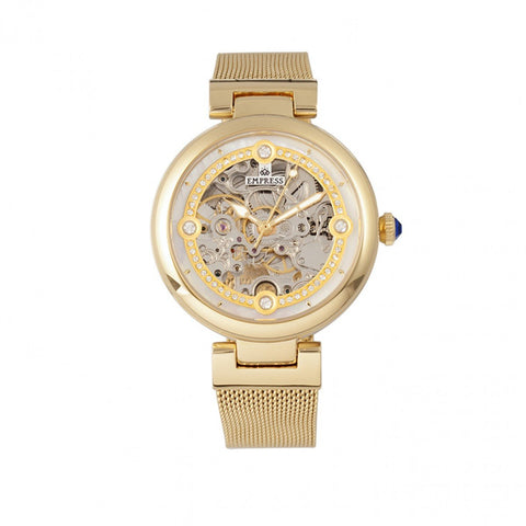 Empress Adelaide Automatic Skeleton Mesh-Bracelet Watch - Gold