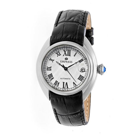 Empress Antoinette Automatic MOP Leather-Band Watch - Silver/White EMPEM1401