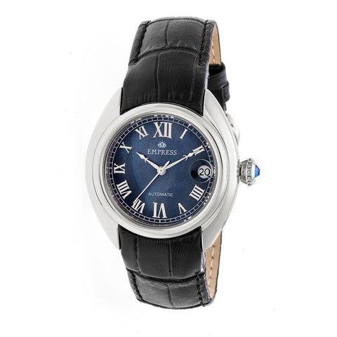 Empress Antoinette Automatic MOP Leather-Band Watch - Silver/Black EMPEM1402