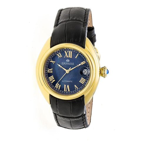 Empress Antoinette Automatic MOP Leather-Band Watch - Gold/Black EMPEM1404