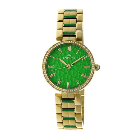 Empress Catherine Automatic Hammered Dial Bracelet Watch - Green EMPEM1903