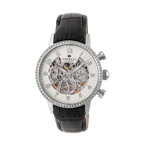 Empress Beatrice Automatic Skeleton Dial Leather-Band Watch w/Day/Date - Silver EMPEM2001