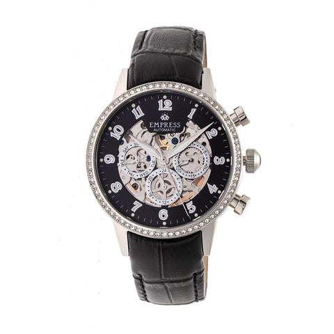 Empress Beatrice Automatic Skeleton Dial Leather-Band Watch w/Day/Date - Silver/Black EMPEM2002