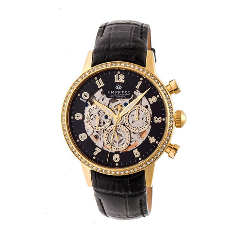 Empress Beatrice Automatic Skeleton Dial Leather-Band Watch w/Day/Date - Gold/Black EMPEM2004