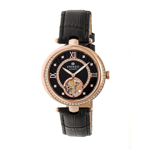 Empress Stella Automatic Semi-Skeleton Dial Leather-Band Watch - Black/Rose Gold EMPEM2105